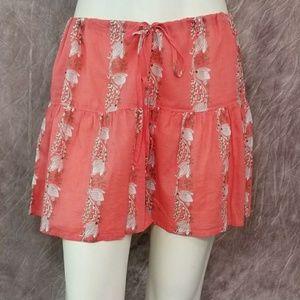 J Crew Floral Print Beaded Drawstring Mini Skirt